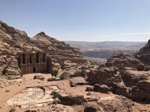 Jordanië Petra Het Klooster Vanaf Uitzichtpunt